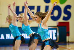 Cheerleaders Ladies perform during basketball match between National teams of Latvia and Slovenia in Qualifying Round of U20 Men European Championship Slovenia 2012, on July 16, 2012 in Domzale, Slovenia. Slovenia defeated Latvia 69-62. (Photo by Vid Ponikvar / Sportida.com)