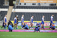 St Helens take the field for the Betfred Super League match between Hull FC and St Helens RFC at Kingston Communications Stadium, Hull, United Kingdom on 16 February 2020.
