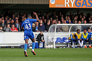 AFC Wimbledon attacker Michael Folivi (41) celebrating after scoring goal during the EFL Sky Bet League 1 match between AFC Wimbledon and Gillingham at the Cherry Red Records Stadium, Kingston, England on 23 March 2019.