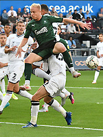 Football - 2021 / 2022 EFL Carabao Cup - Round Two - Swansea City vs Plymouth Argyle - Liberty Stadium - Tuesday 24th August 2021<br /> <br /> Ryan Broom Plymouth Argyle fails to connect<br /> <br /> COLORSPORT/WINSTON BYNORTH