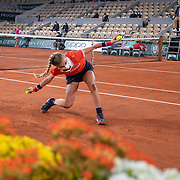 PARIS, FRANCE September 28.  A ball girl in action during the Petra Kvitova of the Czech Republic match against Oceane Dodin of France on Court Philippe-Chatrier in the first round of the singles competition during the  French Open Tennis Tournament at Roland Garros on September 28th 2020 in Paris, France. (Photo by Tim Clayton/Corbis via Getty Images)