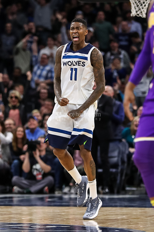 Feb 15, 2018; Minneapolis, MN, USA; Minnesota Timberwolves guard Jamal Crawford (11) celebrates during the fourth quarter against the Los Angeles Lakers at Target Center. Mandatory Credit: Brace Hemmelgarn-USA TODAY Sports