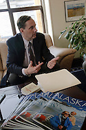 Alaska Representative Chris Tuck explains his bill to Alaska Lt. Governor Craig E. Campbell, hoping for help getting his bill out of the Rules Committee where it has been held up.