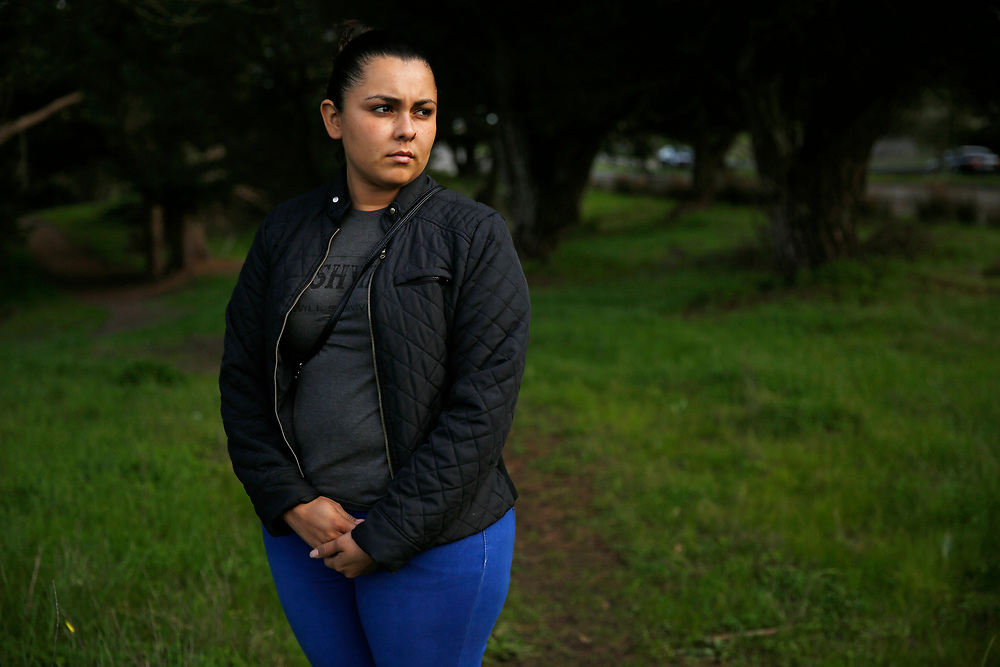 Sindy Flores stands for a portrait on Tuesday, Jan. 29, 2019, in San Francisco, Calif. Her one-year-old girl is being held at a Texas shelter. Flores is staying in S.F. with relatives awaiting a claim for asylum.