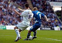 Photo: Alan Crowhurst.<br />Reading v Leeds Utd. Coca Cola Championship.<br />29/10/2005. Brynjar Gunnarsson (R) scores Reading's first goal.