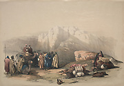 Tomb of Aaron, Summit of Mount Horeb, Sinai Color lithograph by David Roberts (1796-1864). An engraving reprint by Louis Haghe was published in a the book 'The Holy Land, Syria, Idumea, Arabia, Egypt and Nubia. in 1855 by D. Appleton & Co., 346 & 348 Broadway in New York.