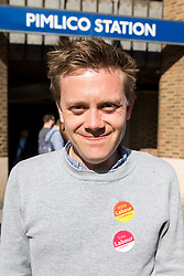 © Licensed to London News Pictures. 03/05/2018. London, UK. Journalist and Labour activist OWEN JONES poses for a photo outside Pimlico Tube Station as part of 'Unseat Westminster Tory Council'. The gathering was arranged to round up volunteers to speak to Westminster residents who said they would vote for labour. Photo credit : Tom Nicholson/LNP