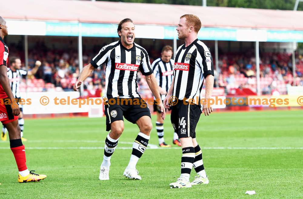 Alan Smith of Notts County runs to mob goalscorer Adam Campbell during the Sky Bet League 2 match between Crawley Town and Notts County at the Checkatrade Stadium in Crawley. August 27, 2016.<br /> Simon  Dack / Telephoto Images<br /> +44 7967 642437