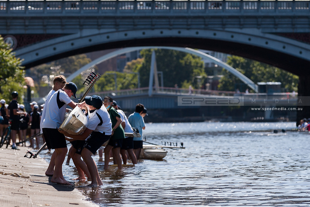 Rowers lift their boat from the Yarra after training during the 35th day of zero COVID-19 cases in Victoria, Australia. School and community sport is ramping up and as the weather improves, more people are venturing out and about to enjoy this great city. Pressure is mounting on Premier Daniel Andrews to keep his promise of removing all remaining restrictions. (Photo by Dave Hewison/Speed Media)