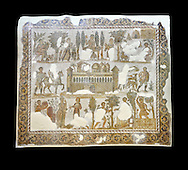 Early 5th century AD Roman mosaic depiction of the farm of Seigneur Julius . From Cathage, Tunisia.  The Bardo Museum, Tunis, Tunisia. Black background .<br /> <br /> If you prefer to buy from our ALAMY PHOTO LIBRARY  Collection visit : https://www.alamy.com/portfolio/paul-williams-funkystock/roman-mosaic.html - Type -   Bardo    - into the LOWER SEARCH WITHIN GALLERY box. Refine search by adding background colour, place, museum etc<br /> <br /> Visit our ROMAN MOSAIC PHOTO COLLECTIONS for more photos to download  as wall art prints https://funkystock.photoshelter.com/gallery-collection/Roman-Mosaics-Art-Pictures-Images/C0000LcfNel7FpLI