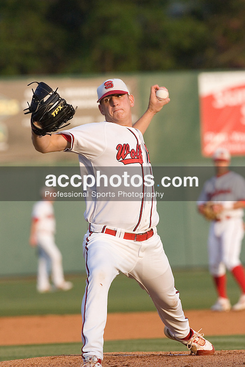 27 April 2007: North Carolina State Wolfpack pitcher Eric Surkamp (43) in an 11-1 win over the North Carolina Tar Heels at Doak Field in Raleigh, NC.
