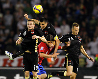Fotball , 6. juni 2009 , VM-kvalifisering , Serbia - Østerrike<br /> <br />  Bild zeigt Jakob Jantscher, Paul Scharner (AUT, Marko Pantelic (SRB) und Manuel Ortlechner (AUT). <br />  <br /> Norway only