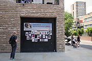 Posters of missing persons from Grenfell Tower fire along Bramely Road on 17th June 2017 in North Kensington, London, United Kingdom. The Grenfell Tower fire occurred on 14th June 2017 at the 24-storey block of public housing flats in North Kensington, West London. It caused at least 80 deaths and over 70 injuries, yet the actual numbers have yet to be confirmed