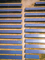 Aerial view above of photovoltaic panels during sunny day, Zutphen, Netherlands.