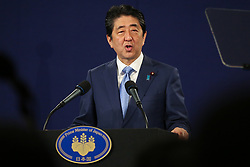 April 29, 2017 - London, London, United Kingdom - Image ©Licensed to i-Images Picture Agency. 29/04/2017. London, United Kingdom. Japanese Prime Minister Shinzo Abe press conference. London. UK. Japanese Prime Minister Shinzo Abe arrives at the press conference. Japanese Prime Minister Shinzo Abe speaks at a press conference following a meeting with President Vladimir Putin in Moscow on Thursday 27 April 2017 and the British Prime Prime Minister Theresa May in London on Friday 28 April 2017 to discuss various issues including the worldeconomy and global security looking ahead to the G7 Summit next month. Picture by Dinendra Haria / i-Images (Credit Image: © Dinendra Haria/i-Images via ZUMA Press)