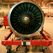 Rolls-Royce Adour engine of the 'Red Arrows', Britain's Royal Air Force aerobatic team in Squadron's hangar at RAF Scampton,