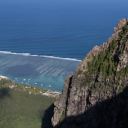 View from Le Morne Brabant Mountain in the Southwest of Mauritius. Le Morne is a UNESCO Cultural World Heritage Site famous as a haven for runaway slaves in the 18th and 19th centuries. It is a symbol of freedom here in Mauritius.