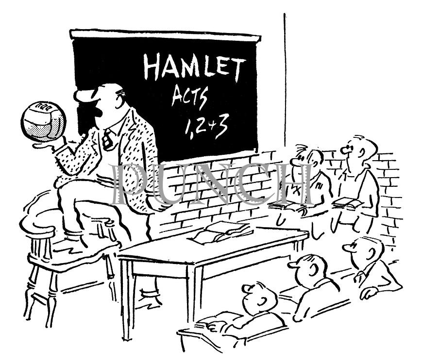 (A teacher reciting Hamlet's speech to Yorick's skull to a football)