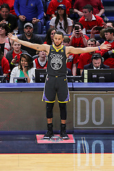 May 6, 2018 - New Orleans, LA, U.S. - NEW ORLEANS, LA - MAY 06: Golden State Warriors guard Stephen Curry (30) reacts to a play against New Orleans Pelicans during game 4 of the NBA Western Conference Semifinals at Smoothie King Center in New Orleans, LA on May 06, 2018.  (Photo by Stephen Lew/Icon Sportswire) (Credit Image: © Stephen Lew/Icon SMI via ZUMA Press)