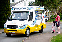 social distancing at the icecream truck at it comes through the oxfordshire villages durung the coronavirus  lockdown