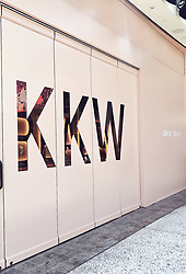 """Kim Kardashian releases a photo on Twitter with the following caption: """"""""Today is the last day of the @kkwbeauty Pop-Up in @WestfieldCC! Come test the new Classic Collection and shop #KKWBEAUTY & @KKWFRAGRANCE 💋 Open today until 10PM"""""""". Photo Credit: Twitter *** No USA Distribution *** For Editorial Use Only *** Not to be Published in Books or Photo Books ***  Please note: Fees charged by the agency are for the agency's services only, and do not, nor are they intended to, convey to the user any ownership of Copyright or License in the material. The agency does not claim any ownership including but not limited to Copyright or License in the attached material. By publishing this material you expressly agree to indemnify and to hold the agency and its directors, shareholders and employees harmless from any loss, claims, damages, demands, expenses (including legal fees), or any causes of action or allegation against the agency arising out of or connected in any way with publication of the material."""