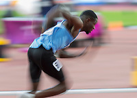 Athletics - 2017 IAAF London World Athletics Championships - Day Three, Evening Session<br /> <br /> Men's 400m Semi Final<br /> <br /> Babaloki Thebe (Botswana) blasts out of his blocks at the London Stadium.  (Slow Shutter)<br /> <br /> COLORSPORT/DANIEL BEARHAM