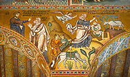 Medieval Byzantine style mosaics of the Bible story of Abraham, Palatine Chapel, Cappella Palatina, Palermo, Italy .<br /> <br /> If you prefer you can also buy from our ALAMY PHOTO LIBRARY  Collection visit : https://www.alamy.com/portfolio/paul-williams-funkystock/byzantine-art-antiquities.html . Type -    Palatine     - into the LOWER SEARCH WITHIN GALLERY box. Refine search by adding background colour, place, museum etc<br /> <br /> Visit our BYZANTINE MOSAIC PHOTO COLLECTION for more   photos  to download or buy as prints https://funkystock.photoshelter.com/gallery-collection/Roman-Byzantine-Art-Artefacts-Antiquities-Historic-Sites-Pictures-Images-of/C0000lW_87AclrOk
