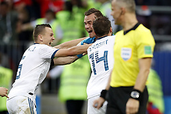 (l-r) Denis Cheryshev of Russia, goalkeeper Igor Akinfeev of Russia, Vladimir Granat of Russia, referee Bjorn Kuipers during the 2018 FIFA World Cup Russia round of 16 match between Spain and Russia at the Luzhniki Stadium on July 01, 2018 in Moscow, Russia
