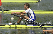 2002 FISA World Cup. Hazewinkel. BEL.       Friday  14/06/2002     .email images@Intersport-images.com.[Mandatory Credit: Peter Spurrier/Intersport Images]  .                                 /06/2002.Rowing. .FRA M1X Fredric Michel Kowal Rowing, FISA WC.Hazenwinkel, BEL