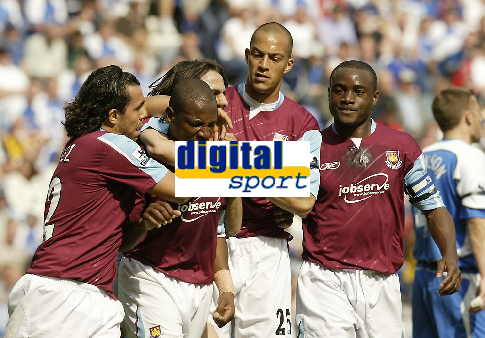 Photo: Aidan Ellis.<br /> Wigan Athletic v West Ham United. The Barclays Premiership. 28/04/2007.<br /> West Ha, goal scorer Louis Boa Morte is mobbed after scoring the first goal