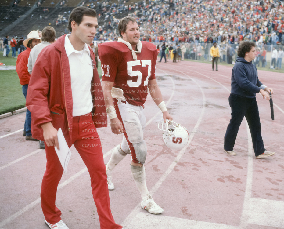 COLLEGE FOOTBALL:  Stanford vs Washington on October 30, 1982 at Stanford Stadium in Palo Alto, California.  Mike Teeuws #57.  Photograph by David Madison ( www.davidmadison.com ).