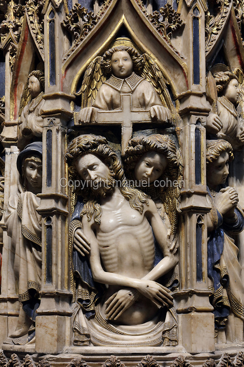 Deposition, detail from the main altarpiece, dedicated to the Virgin and St Peter and carved in alabaster with scenes of their lives and of the martyrdom of St Paul, 1428, by Pere Oller, in the Catedral de Sant Pere Apostol, or Cathedral of St Peter the Apostle, in Vic, Catalonia, Spain. The church was originally founded in the 11th century by abbot Oliba, of which only the crypt rand Romanesque bell tower remain. The current building is a late 18th century neoclassical church. Picture by Manuel Cohen