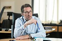 03 JUL 2019, BERLIN/GERMANY:<br /> Andreas Scheuer, CSU, Bundesminister fuer Verkehr und digitale Infrastruktur, waehrend einem Interview, in seinem Buero, Bundesministerium fuer Verkehr und digitale Infrastruktur<br /> IMAGE: 20190703-01-047