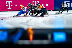 Dylan Hoogerwerf of Netherlands, Semen Elistratov of Russia, Kristen Santos of USA, Shaoang Liu of Hungary in action on 1500 meter during ISU World Short Track speed skating Championships on March 06, 2021 in Dordrecht