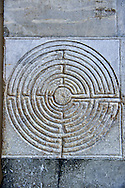 Late medieval relief sculptures of a Labyrinth , the Cattedrale di San Martino,  Duomo of Lucca, Tunscany, Italy, .<br /> <br /> Visit our ITALY PHOTO COLLECTION for more   photos of Italy to download or buy as prints https://funkystock.photoshelter.com/gallery-collection/2b-Pictures-Images-of-Italy-Photos-of-Italian-Historic-Landmark-Sites/C0000qxA2zGFjd_k<br /> <br /> If you prefer to buy from our ALAMY PHOTO LIBRARY  Collection visit : https://www.alamy.com/portfolio/paul-williams-funkystock/lucca.html .<br /> <br /> Visit our MEDIEVAL PHOTO COLLECTIONS for more   photos  to download or buy as prints https://funkystock.photoshelter.com/gallery-collection/Medieval-Middle-Ages-Historic-Places-Arcaeological-Sites-Pictures-Images-of/C0000B5ZA54_WD0s