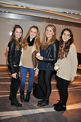 Left to right, LILY BILTON, ANNABEL WRIGHT, ISSY HOBLYN and ALEX CALEGHNI at the NIP+FAB Bright Young Things Beauty Workshop Tea Party held at the W Hotel, Wardour Street, London W1 on 24th November 2012.