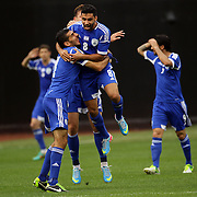 Ezra Hen, Israel, (number 8), celebrates with team mates after scoring a stunning goal during the Israel V Honduras  International Friendly football match at Citi Field, Queens, New York, USA. 2nd June 2013. Photo Tim Clayton