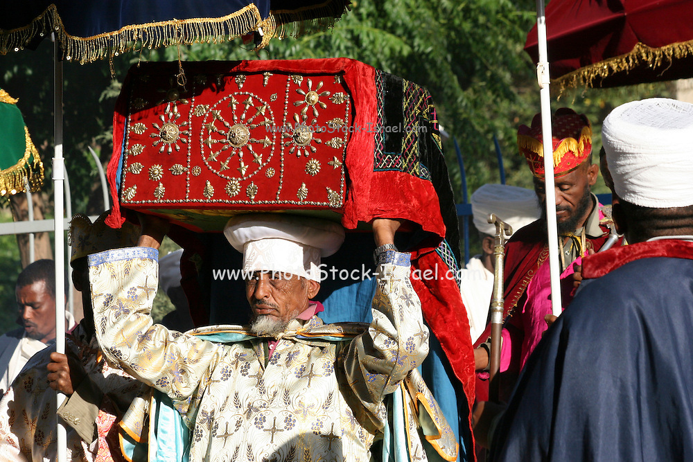 Africa, Ethiopia, Axum The Church of Our Lady Mary of Zion said to houses the Biblical Ark of the Covenant The ark is brought out for the Timket ceremony January 18 2009