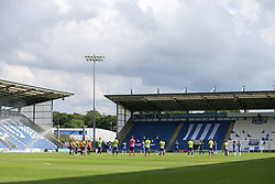 Players from both clubs join in a round of applause before kick off - Mandatory by-line: Arron Gent/JMP - 18/06/2020 - FOOTBALL - JobServe Community Stadium - Colchester, England - Colchester United v Exeter City - Sky Bet League Two Play-off 1st Leg