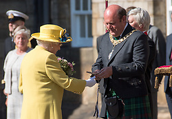 Queen Elizabeth ll attends the Ceremony of the Keys at  Holyroodhouse on July 2, 2018, where she is symbolically offered the keys to the city of Edinburgh by the Lord Provost  Frank Ross.