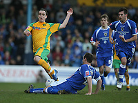Photo: Rich Eaton.<br /> <br /> Cardiff City v Norwich City. Coca Cola Championship. 10/03/2007. Lee Croft of Norwich jumps over Cardiff captain Riccy Scimeca