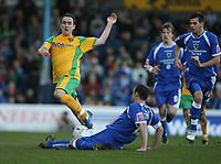 Photo: Rich Eaton.<br /> <br /> Cardiff City v Norwich City. Coca Cola Championship. 10/03/2007. Lee Croft of Norwich jumps over Cardiff captain Riccy Scimeca