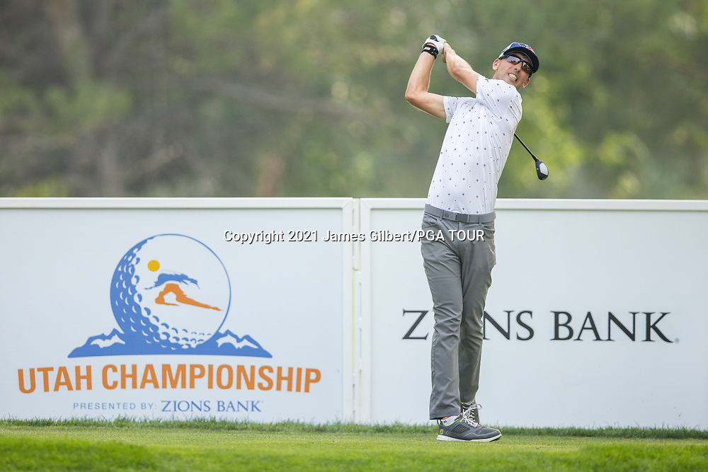 FARMINGTON, UT - AUGUST 08: Seth Reeves plays his shot from the 17th tee during the final round of the Utah Championship presented by Zions Bank at Oakridge Country Club on August 8, 2021 in Farmington, Utah. (Photo by James Gilbert/PGA TOUR via Getty Images)