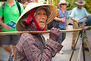 Hoi An, Vietnam, March 23, 2016 --Woman is carrying produce to market. Editorial Use Only