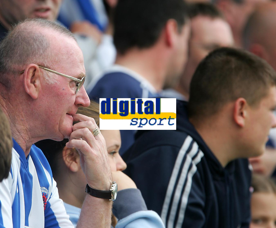 Photo: Andrew Unwin.<br />Hartlepool United v Port Vale. Coca Cola League 1. 06/05/2006.<br />It's a tense game for one Hartlepool fan as his team play to avoid relegation.