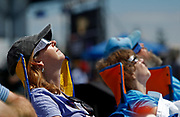 A lady lays back in her chair as she watches the total eclipse at Cligmans Dome Monday, Aug. 21, 2017, in Gatlinburg, Tenn. (WADE PAYNE/SPECIAL TO THE NEWS SENTINEL)