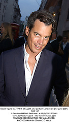 Social figure MATTHEW MELLON, at a party in London on 2nd June 2004.<br /> PUR 167