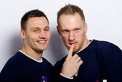 Luka and his brother Miha Zvizej during practice session of Slovenian Handball Men National Team, on November 4, 2011, in Zrece, Slovenia.  (Photo by Vid Ponikvar / Sportida)