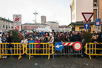 BONDENO, ITALY - 6 JANUARY 2020: A crowd is seen here waiting for the appeance of the Befana and for Matteo Salvini, former Interior Minister of Italy and leader of the far-right League party, during his campaign in Bondeno, Italy, on January 6th 2020.<br /> <br /> Matteo Salvini is campaigning in the region of Emilia Romagna to support the League candidate Lucia Borgonzoni running for governor.<br /> <br /> After being ousted from government in September 2019, Matteo Salvini has made it a priority to campaign in all the Italian regions undergoing regional elections to demonstrate that, in power or not, he still commands considerable support.<br /> <br /> The January 26th regional elections in Emilia Romagna, traditionally the home of the Italian left, has been targeted by Matteo Salvini as a catalyst for bringing down the government. A loss for the center-left Democratic Party (PD) against Mr Salvini's right would strip the centre-left party of control of its symbolic heartland, and probably trigger a crisis in its coalition with the Five Star Movement.