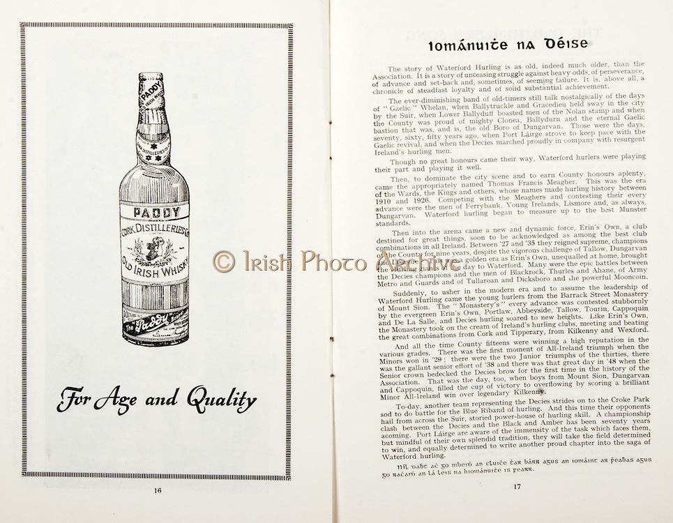 All Ireland Senior Hurling Championship Final,.01.09.1957, 09.01.1957, 1st September 1957,.Minor Kilkenny v Tipperary, .Senior Kilkenny v Waterford, Kilkenny 4-10.Waterford 3-12,..Advertisement, Paddy, Old Irish Whiskey,